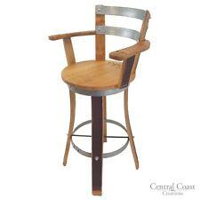 "Swivel Top Wine Barrel Stool W/ Armrest 24"" 26"" 30"" Sit Height Rustic Furniture"