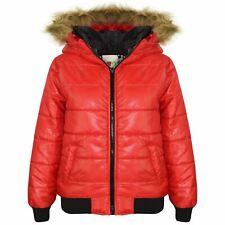 Niños Chicos Chicas chaquetas Rojo Maya imitación piel con capucha acolchado globo Burbuja abrigos 5-13