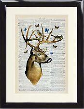 Dictionnaire Art Imprimé Stag Deer avec oiseaux papillon Photo vintage inhabituel cadeau