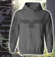 MTB inspired hooded top, mountain bike tattoo sleeve design - maori eagle