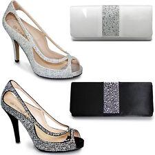 FLR243 Rachel Womens  Peep Toe Diamante Cut Out Slip On Stiletto Party Heels
