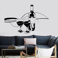 Wall Vinyl Decal Wine Vine Glasses Amazing Decal Restaurante Kitchen z3696