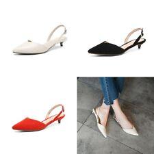 Women Suede Sexy Slingbacks Sandals Kitten Heels Pointed Toe Pumps Buckle Shoes