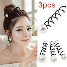 3PCS Pearl Black Spiral Spin Screw Bobby Pin Hair Clips Lady Twist Barrette FF