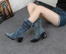 Womens Chunky high heel Retro Mid-calf boots Denim Casual cowboy shoes Canvas