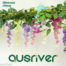 Premium 2Pcs 2M Artificial Silk Wisteria Flower Garland Hanging Vine Ivy Wedding