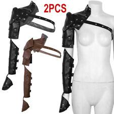2 Set Adult Medieval Adjustable Metal Rivets Shoulder Armor PU Arm Strap Harness