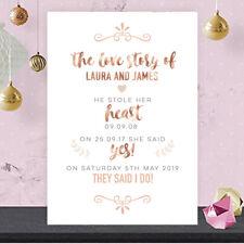 Personalised Love Story How We Met Wedding Sign Rose Gold Effect & Peach RG100