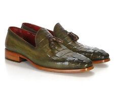 Paul Parkman Men's Green Crocodile Embossed Calfskin Tassel Loafer (ID#PP2281-GR