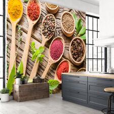 Foods Spice Herbs Fruits Spoon Plants Kitchen Restaurant Wallpaper Murals Photo