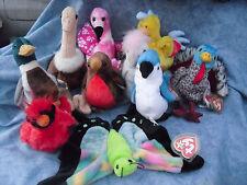 W-F-L TY  Beanie #2 Stoffvogel  14 - 20 cm Ente Flamingo Küken Gans Storch Vogel