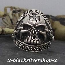 Totenkopf Ring Silber 925 Skull Biker Metal Gothic Wikinger Herren Iron Cross