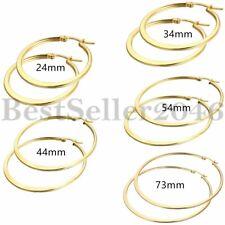 Women Ladies Gold Stainless Steel Big Large Circle Oval Hoop Earrings 24mm-73mm