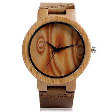 Casual Nature Wood Bamboo Women Mens Leather Band Quartz Wrist Watch Xmas Gift