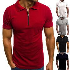 Mens Zip Neck Short Sleeve Polo Shirt Slim Fit Tops Sports Golf Muscle Plain Tee