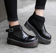 Fashion Womens Gothic Punk Retro Creeper Platform Black  Ankle Boots Shoes