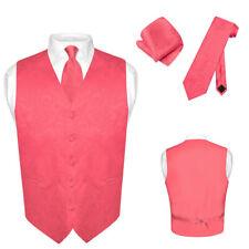 Men's Paisley Design Dress Vest & NeckTie CORAL PINK Color Neck Tie Set