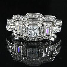 Vintage Style 2ct Princess & Baguette D/VVS1 Diamond 10K Solid Gold Bridal Ring