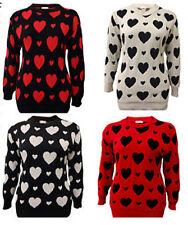 NEW LADIES PLUS SIZE  MULTI LOVE HEART PRINT LONG SLEEVE KNITJUMPER TOP 16-26