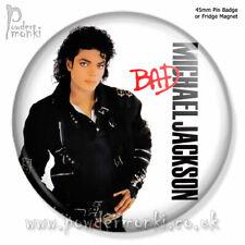 "MICHAEL JACKSON ""Bad"" ~ Pin Badge OR Fridge Magnet [45mm] Retro Music"