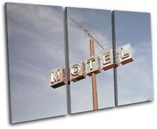 Motel Sign America Vintage TREBLE DOEK WALL ART foto afdrukken