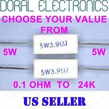 2 pcs 5W from 0.1 OHM to 24K 5% Ceramic Cement Power Resistor 5 W 5WATT WATT