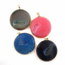 Druzy Agate Round Pendant, Huge Round Druzy Gemstone Pendant,Gold Frame- 45mm