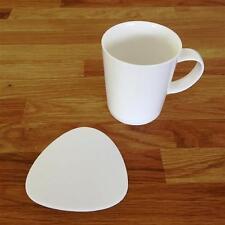 "Pebble Shaped White Gloss Finish Acrylic Coasters, Sets of 4, 6 or 8, 10cm 4"""