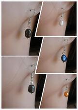 925 Silver Fresh Water Pearl Earrings Colours Black White Brown Blue Purple