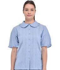 Cotton Lane Blue Chambray Cotton Peter Pan Collar Blouse C38CH. Size UK 8-38