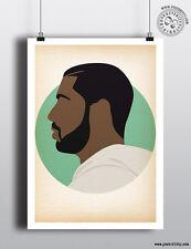 DRAKE - Minimalist Hip Hop Heads Hair Poster Minimal Posteritty Art Rapper Dance