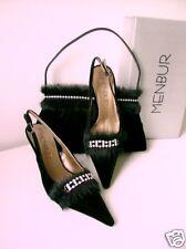 MENBUR Abendschuh Pumps Mule Samt Fell Straß schwarz 38 shoes high heel black