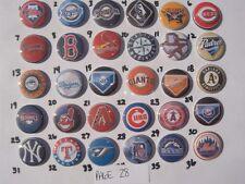 30 MLB Teams flat back button or pin badge cabochons embellishments magnets