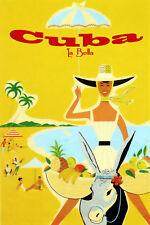 "053.Cuban travel poster/""I Love My Cuba/""Rum ad.Beach.Home Office Decoration"