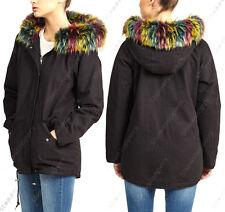 NEW Womens Oversized Hood Multi Fur Parka Coat Ladies Black Jacket Size 8 to 16