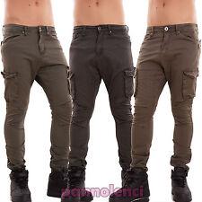 Pantaloni uomo cargo militari slim tasconi cotone cavallo basso polsini J3281