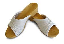 Damen Holz Clogs Leder Sandalen Pantoletten Holzschuhe Weiß
