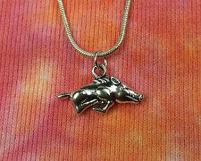 Razorback Pig Necklace on Snake Chain, Choose Your Length, Arkansas Football
