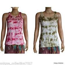UC-34 Cotton Net Ribbed Hippi Boho Stone Washed Women's Crochet Top Vest Dress
