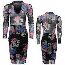 Ladies Floral Long Sleeve V Neck Choker See Through Mesh Top Bodycon Dress