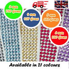 Decorative Diamante Stick on Crystal Sticky Rhinestone Gems 4 Sizes & 21 Colours
