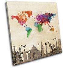 World Landmarks Atlas Maps Flags SINGLE CANVAS WALL ART Picture Print