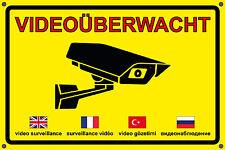 Schild Aufkleber Videoüberwacht Video��berwachung Warnung Hinweisschild Bohrung