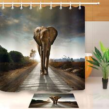 "Single Elephant Walking Fabric Shower Curtain Set 71"" Bath Accessories MAt Rug"