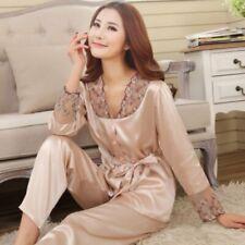 UK Women Pajamas Silk Sleepwear Nightgown Long Sleeve Button V Neck Outerwear