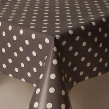 PLAIN SLATE GREY WHITE POLKA DOTS WIPE CLEAN VINYL OIL PVC TABLE CLOTH MODERN