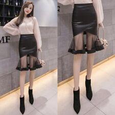 Women Skirt Faux Leather Mesh Fishtail Ruffle Frilly Midi Wet Look Bodycon