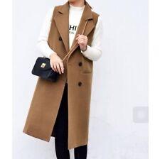 British Womens Wool Blend Sleeveless Jacket Trench Coat Long Vest Suit Waistcoat