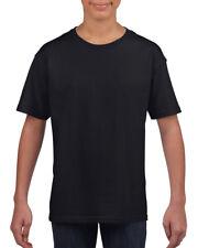 NEGRO LISO para niños y niñas infantil Camiseta De Algodón Edad 3-14