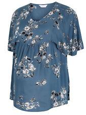 Bump It Up BLUE Floral Print Cape Sleeve Maternity Top - Plus size